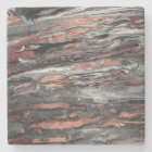 Modern rose gold abstract marbleized paint stone coaster