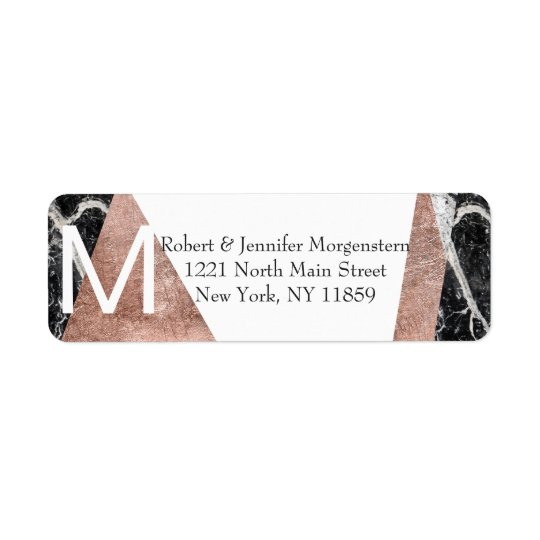 Modern Rose Gold and Marble Monogram Address Return Address Label