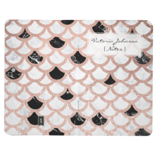 Modern rose gold black white marble scallop journal