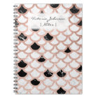 Modern rose gold black white marble scallop notebook