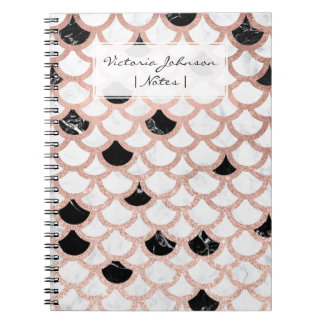 Modern rose gold black white marble scallop notebooks