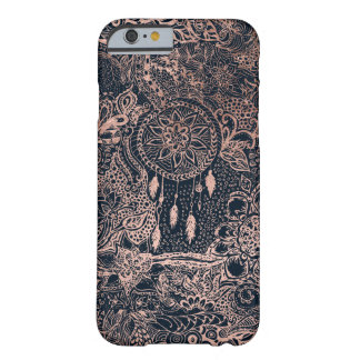 Modern rose gold blue dreamcatcher floral pattern barely there iPhone 6 case