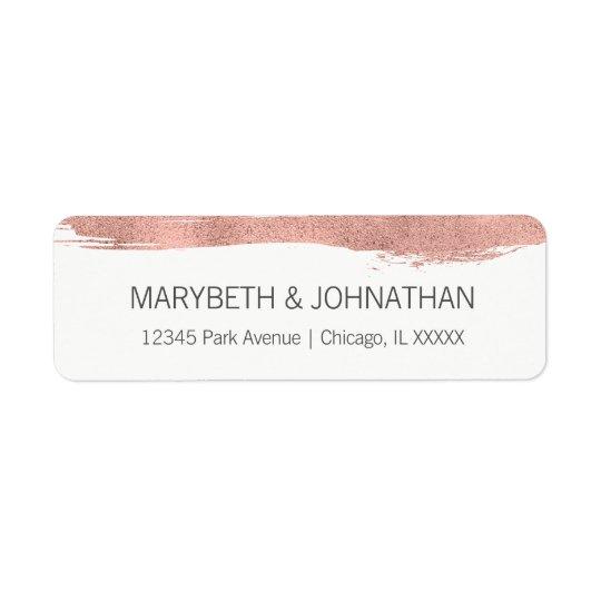 Modern Rose Gold Brushstroke Wedding Address Label