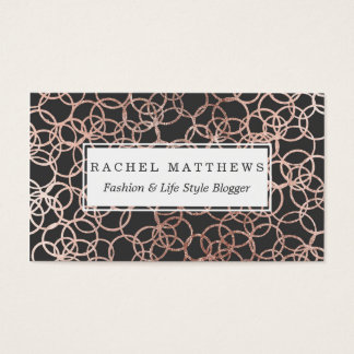 Modern Rose Gold Circles on Charcoal Black Business Card