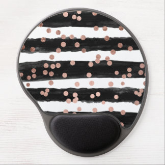 Modern rose gold confetti black watercolor stripes gel mouse pad