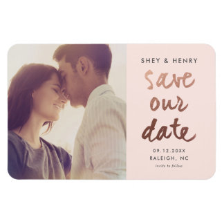 Modern rose gold faux foil save the date magnet