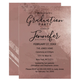 Modern Rose Gold Faux Foil Triangle Graduation Card