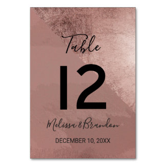 Modern Rose Gold Faux Foil Triangle Table Numbers