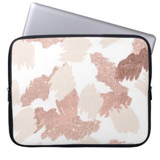 Modern rose gold faux glitter brushstrokes blush laptop sleeve