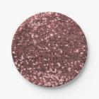 Modern Rose Gold Faux Glitter Pink Print Paper Plate