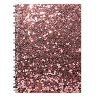 Modern Rose Gold Faux Glitter Print Note Book