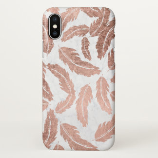 Modern rose gold feathers pattern white marble iPhone x case