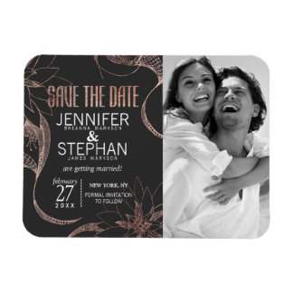 Modern Rose Gold Floral Drawings Save the Dates Magnet