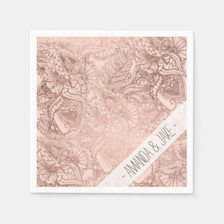 Modern rose gold floral illustration on blush pink paper napkin