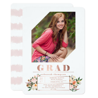 Modern Rose Gold Floral Photo Graduation Party Card