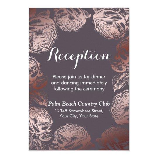 Modern Rose Gold Floral Wedding Reception Card
