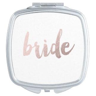 modern rose gold foil bride makeup mirrors