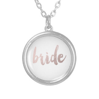 modern rose gold foil bride silver plated necklace