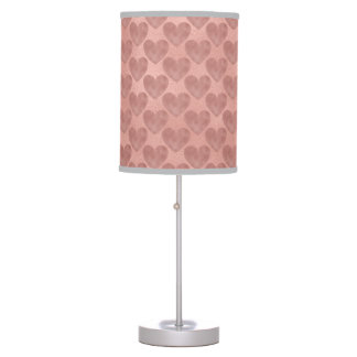 Modern Rose Gold Foil Hearts Pattern Table Lamp