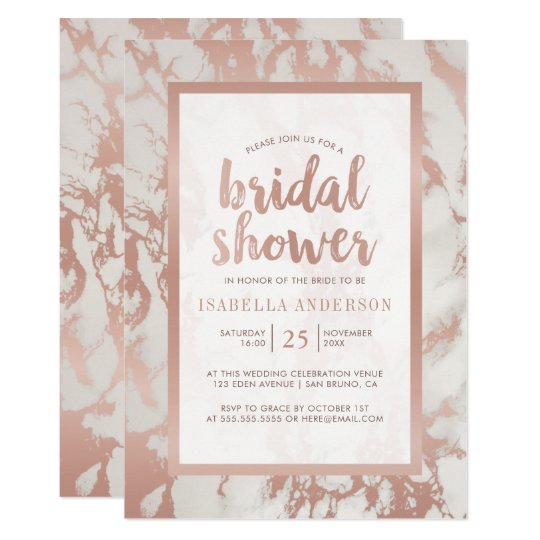 Modern Rose Gold Foil & Marble Bridal Shower Card