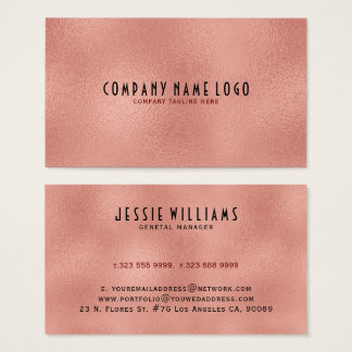 Modern Rose-Gold Frosted Glass Texture Business Card