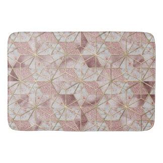 Modern rose gold geometric star flower pattern bathroom mat