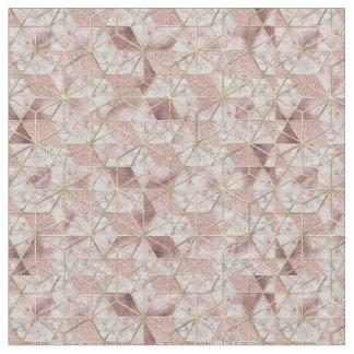 Modern rose gold geometric star flower pattern fabric