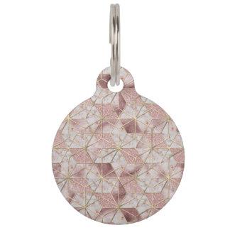 Modern rose gold geometric star flower pattern pet name tag
