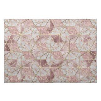 Modern rose gold geometric star flower pattern placemat