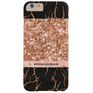Modern Rose-Gold Glitter & Black Marble Pattern Barely There iPhone 6 Plus Case