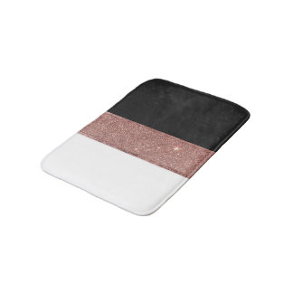 Modern Rose Gold Glitter Black White Color Blocks Bathroom Mat