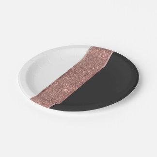 Modern Rose Gold Glitter Black White Color Blocks Paper Plate