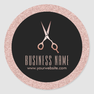 Modern Rose Gold Glitter Hair Salon Product Round Sticker
