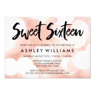 Modern Rose Gold Glitter Lights Sweet 16 Card