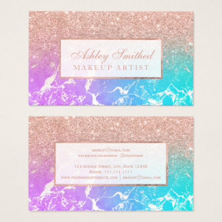 Modern rose gold glitter mermaid marble makeup business card