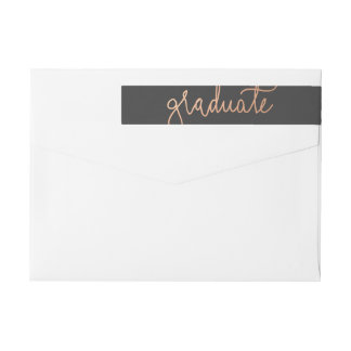 Modern Rose Gold Graduate Typography Charcoal Wraparound Return Address Label