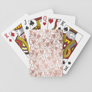 Modern rose gold hand drawn hearts pattern playing cards