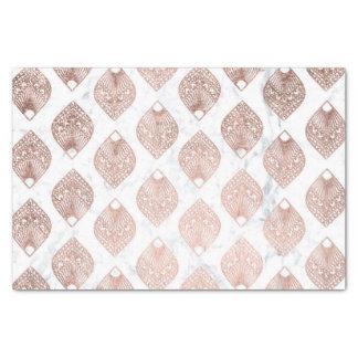 Modern rose gold leaf mandala pattern white marble tissue paper
