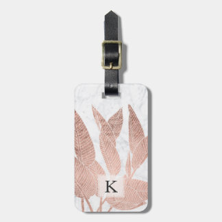 Modern rose gold leaf tropical white marble luggage tag