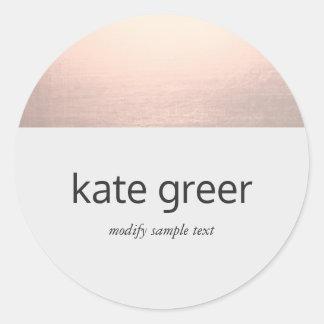 Modern Rose Gold Light Gray Classic Round Sticker