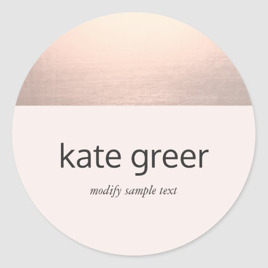 Modern Rose Gold Light Pink Classic Round Sticker