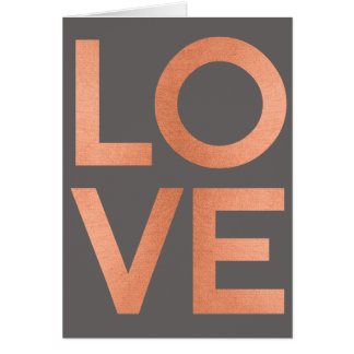 Modern Rose Gold Love Typography Gray Valentines Card