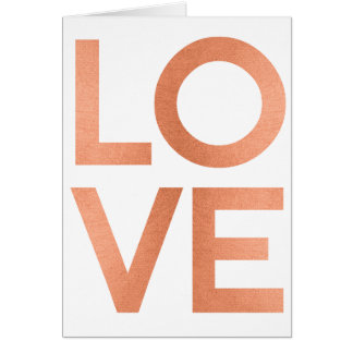 Modern Rose Gold Love Typography White Valentines Card