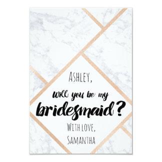 "Modern rose gold marble color block my bridesmaid 3.5"" x 5"" invitation card"