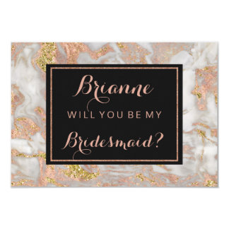 Modern Rose Gold Marble Will You Be My Bridesmaid Card