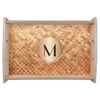 Modern Rose Gold Metallic Look and Monogram Serving Tray