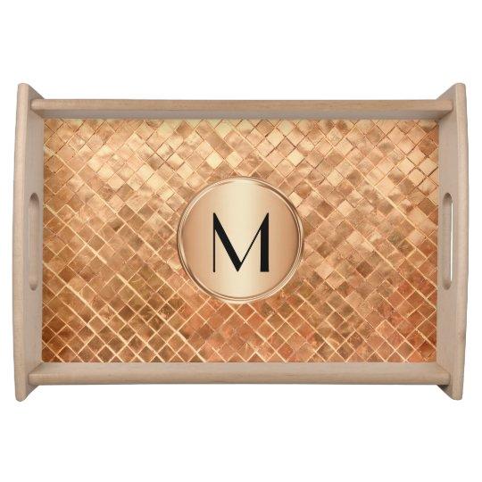 Modern Rose Gold Metallic Look and Monogram Serving Trays