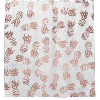 Modern rose gold pineapples pattern white marble