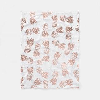 Modern rose gold pineapples pattern white marble fleece blanket