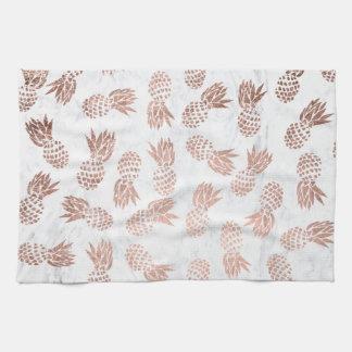 Modern rose gold pineapples pattern white marble kitchen towel